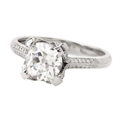 Antique Cushion 1.80 Carat Diamond Platinum Engagement Taccri Ring