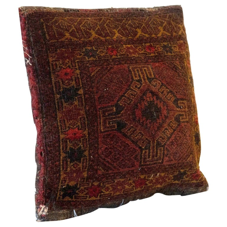 Antique Cushion, Brown Handwoven Decorative Pillow, Bench Cushion Cover