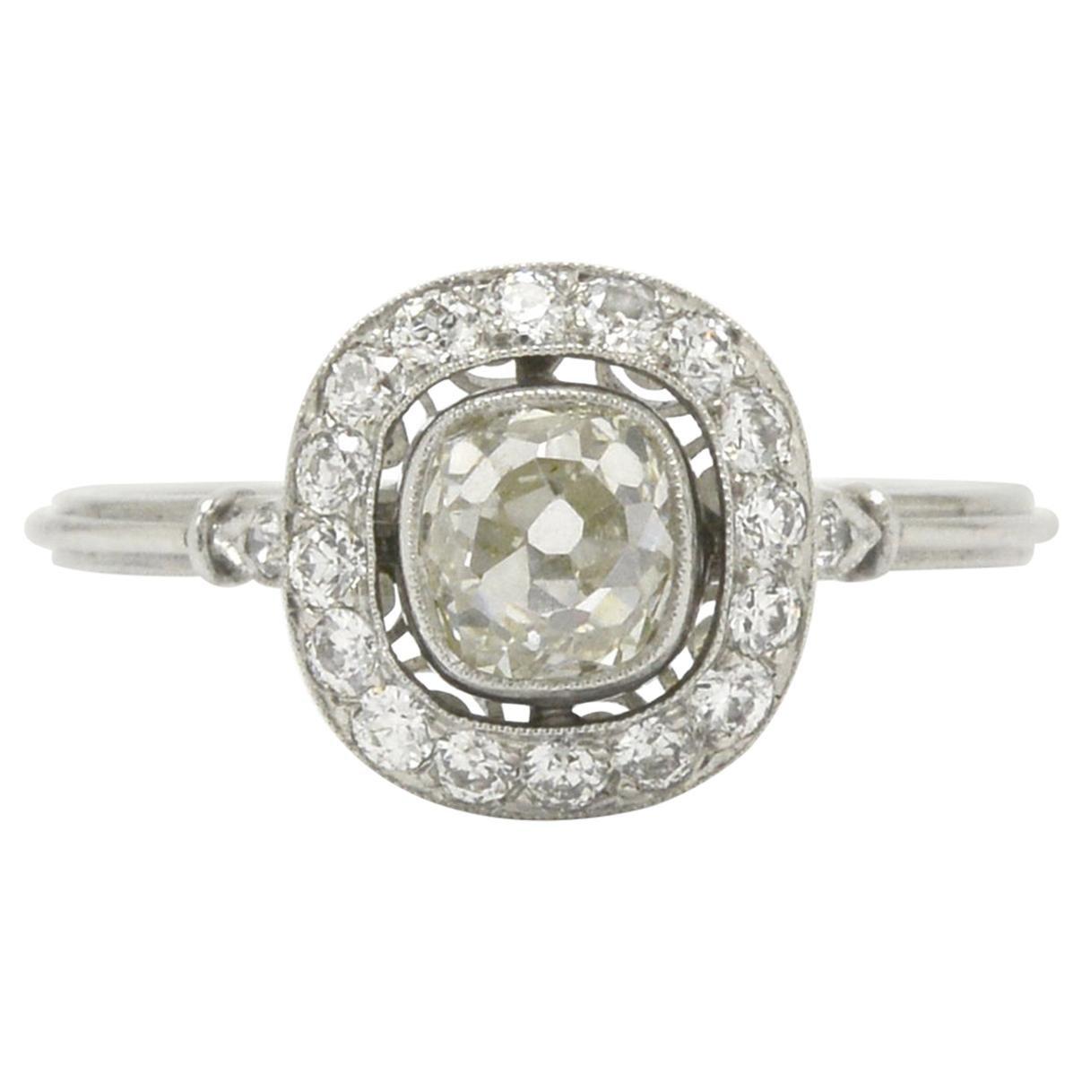 Antique Cushion Diamond Engagement Ring Old Mine Cut Edwardian Style Halo