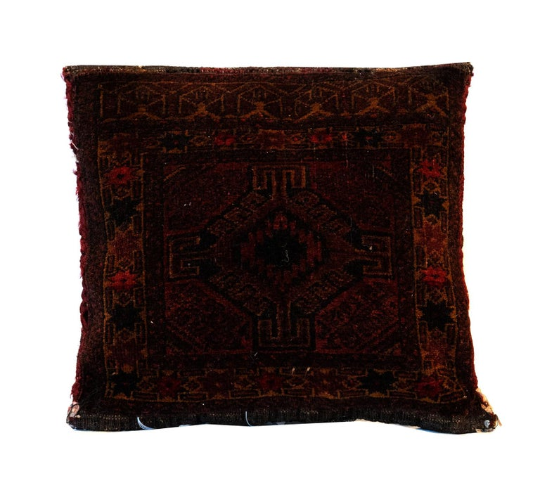 Rustic Antique Cushion, Brown Handwoven Decorative Pillow, Bench Cushion Cover