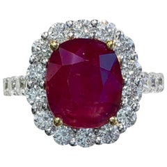 Antique, Cushion Ruby Multi-Diamond Fashion/Fancy Ring