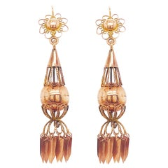 Antique Custom Bohemian Chandelier Earring Dangles in Rose Gold, circa 1922