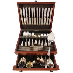 Antique Custom Engraved by Tiffany Sterling Silver Flatware Set Service 80 Pcs