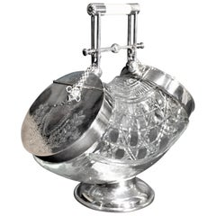 Antique Cut Crystal and Silver Plated Biscuit Barrel with Two Pull Flip Up Lids