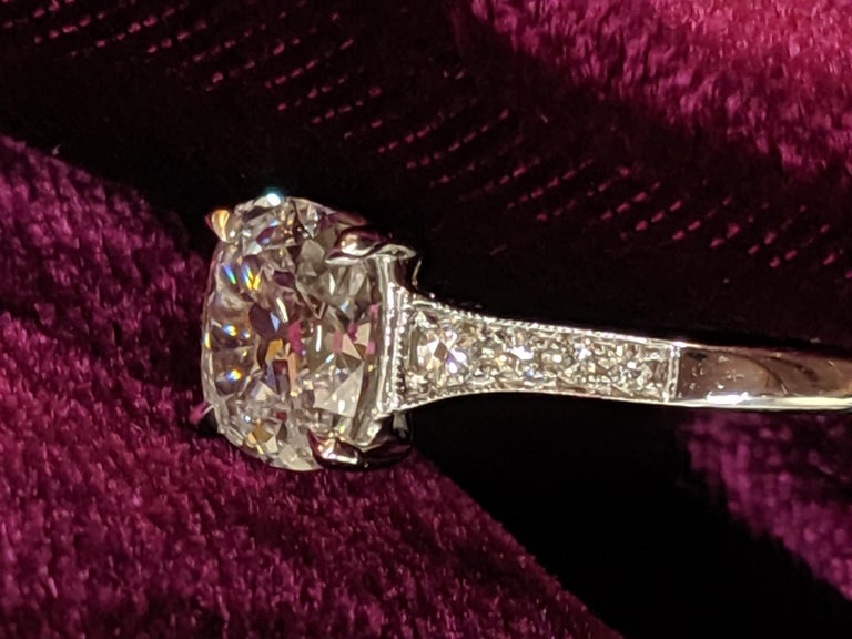 This divinely simple antique style ring by Jack Reiss NYC features a vintage cut cushion diamond of .90 carats color E and Si2 clarity set in 18k white gold.  This type of diamond is available from Jack Reiss in sizes from 0.80 to five carat center