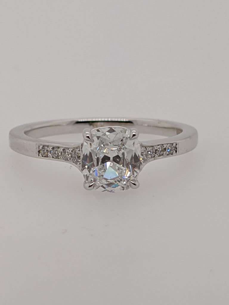 Women's Antique Cut Cushion Diamond Engagement Ring in 18 Karat White Gold, GIA For Sale