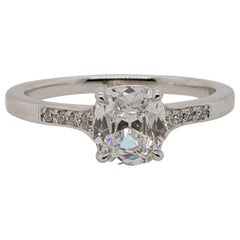 Antique Cut Cushion Diamond Engagement Ring in 18 Karat White Gold, GIA
