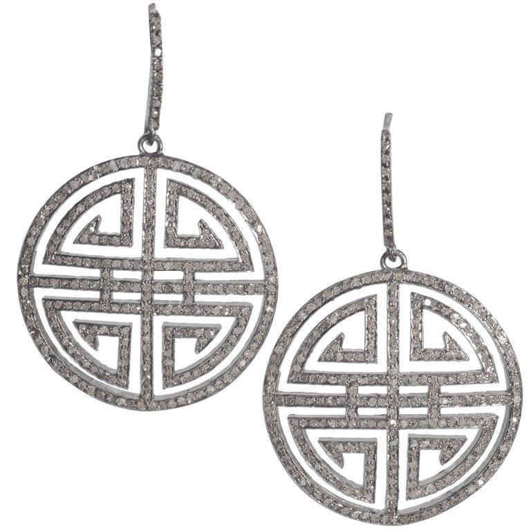 Antique Cut Steel Grey Diamond Chinese Good Luck Symbol
