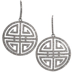 Antique Cut Diamond Chinese Good Luck Symbol Disc Earrings