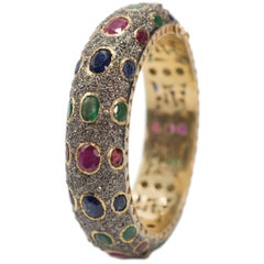 Antique Cut Diamond Emerald Ruby Sapphire Bombe Hinged Bangle