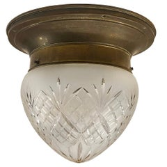 Antique Cut Glass Flush Mounted Light Fixture