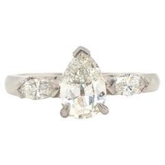 Antique Cut Pear Diamond Platinum Engagement Ring