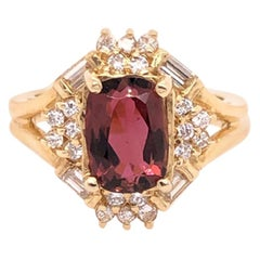 Antique Cut Pink Tourmaline and Diamond Yellow Gold Ring