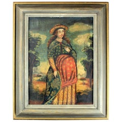 Antique Cuzco School oil on hardboard painting, Expecting Madonna, 18th century