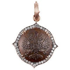 Antique Czar Nicholas II Button Pendant with Reclaimed Diamonds in 14k Rose Gold