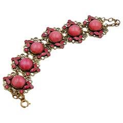 Antique Czech Bracelet with Pink Cabochons 1930s
