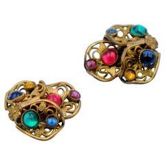Antique Czech Multicolor Clip-on Earrings 1930s