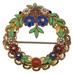 Antique Czech Round Multicolor Enamel Flower Brooch 1930's