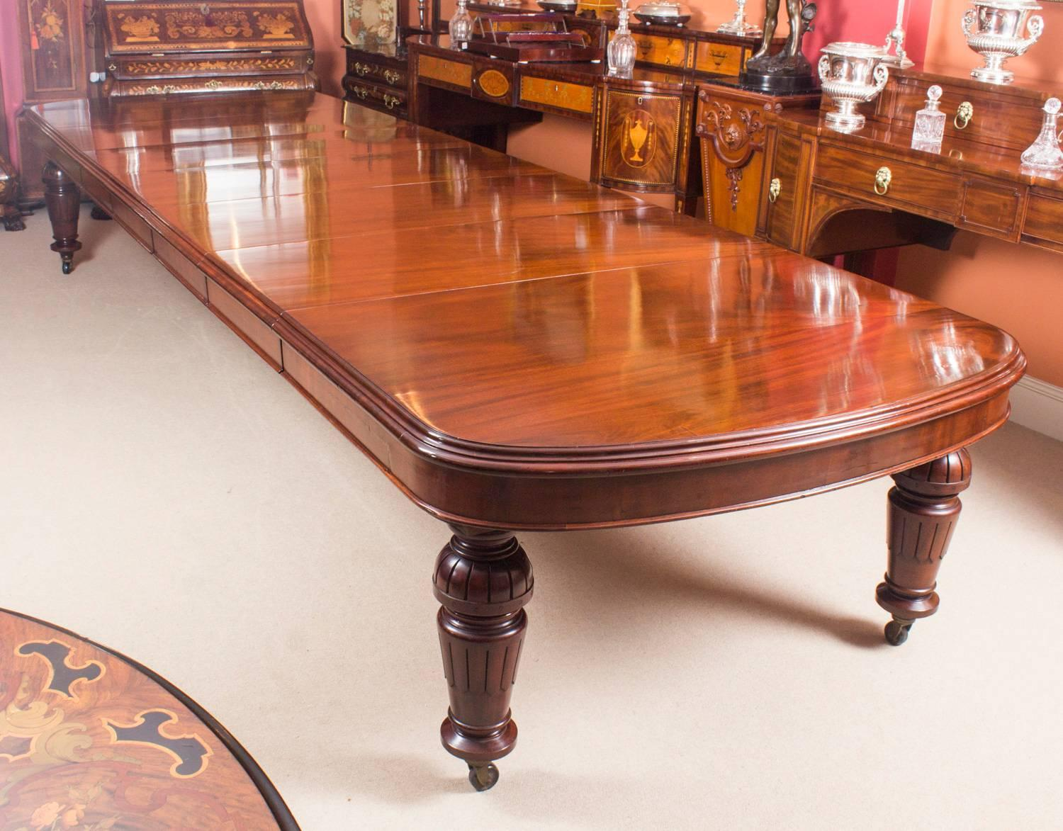 Antique D End Mahogany Dining Table And 12 Chairs By Edwards And Roberts At  1stdibs