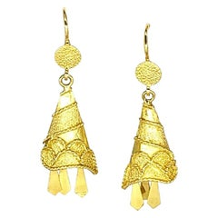 Antique Dangling Bell 18 Karat Gold Italy Earrings