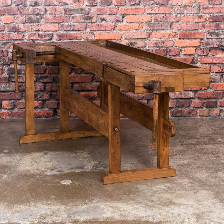 Antique Danish Carpenter's Workbench or Console Table In Good Condition For Sale In Denver, CO