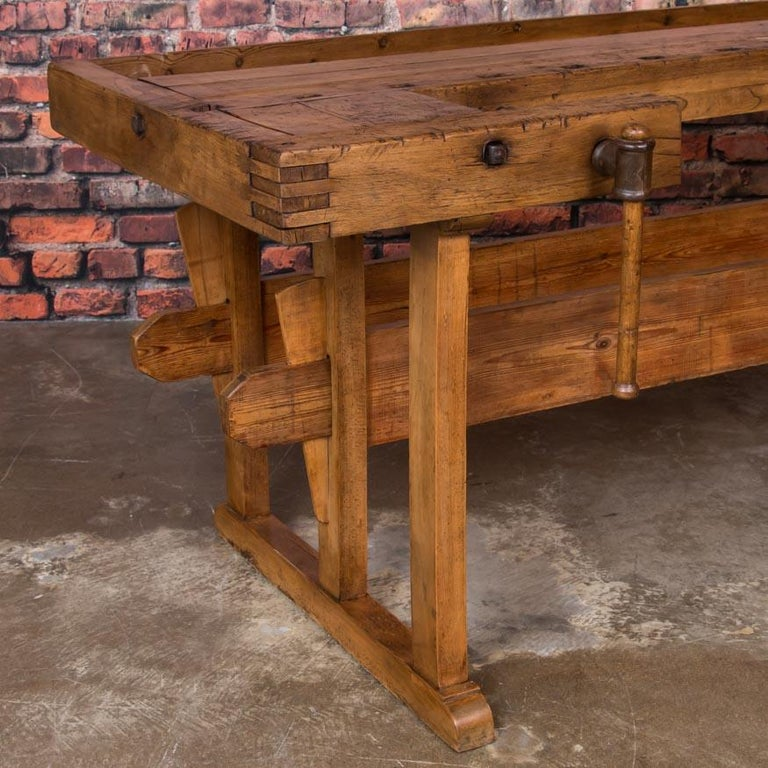 Antique Danish Carpenter's Workbench or Console Table For Sale 1