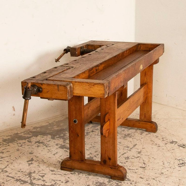 20th Century Antique Danish Carpenters Workbench Work Table For Sale
