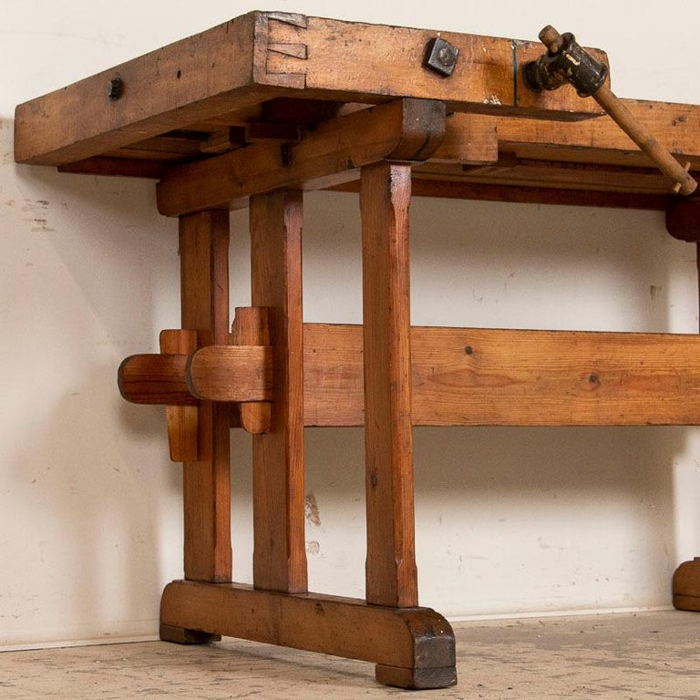 Wood Antique Danish Carpenters Workbench Work Table For Sale