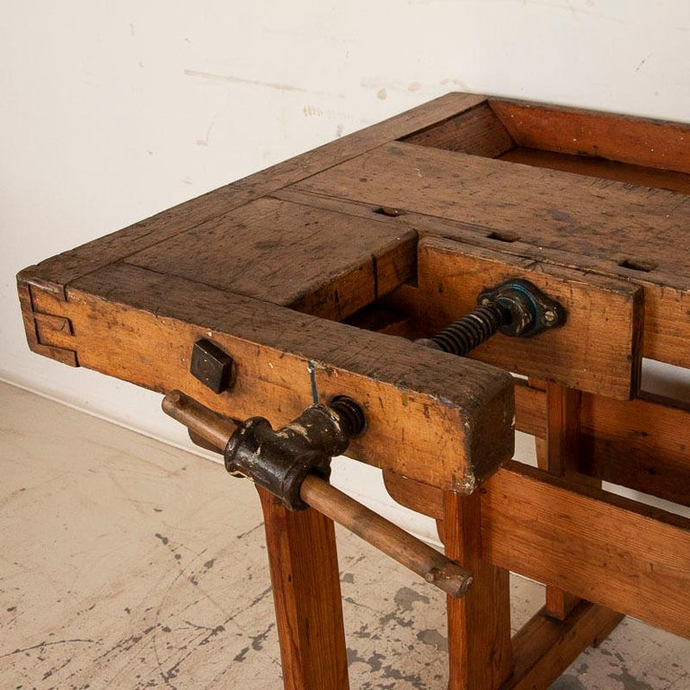 Antique Danish Carpenters Workbench Work Table For Sale 1