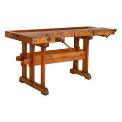 Antique Danish Carpenters Workbench Work Table