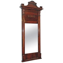 Antique Danish Christian VIII Empire Mirror in West Indies Mahogany, circa 1830