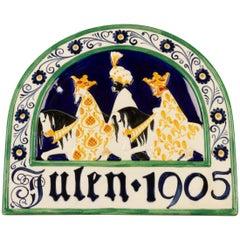 Antique Danish Christmas Porcelain Decorative Plate by Aluminia, 1905