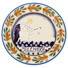 Antique Danish Christmas Porcelain Decorative Plate by Aluminia, 1906