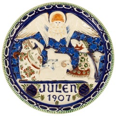 Antique Danish Christmas Porcelain Decorative Plate by Aluminia, 1907