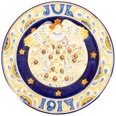Antique Danish Christmas Porcelain Decorative Plate by Aluminia, 1917