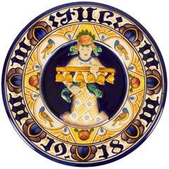 Antique Danish Christmas Porcelain Decorative Plate by Aluminia, 1918