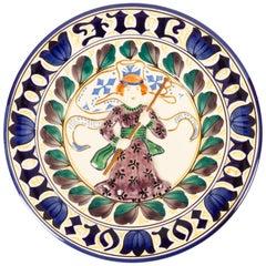 Antique Danish Christmas Porcelain Decorative Plate by Aluminia, 1919