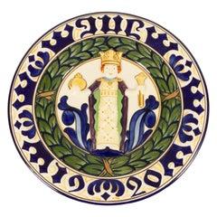 Antique Danish Christmas Porcelain Decorative Plate by Aluminia, 1920