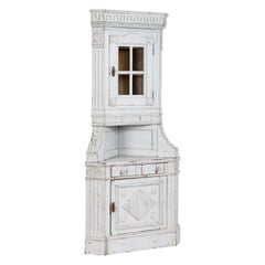 Antique Danish Corner Cabinet Painted White