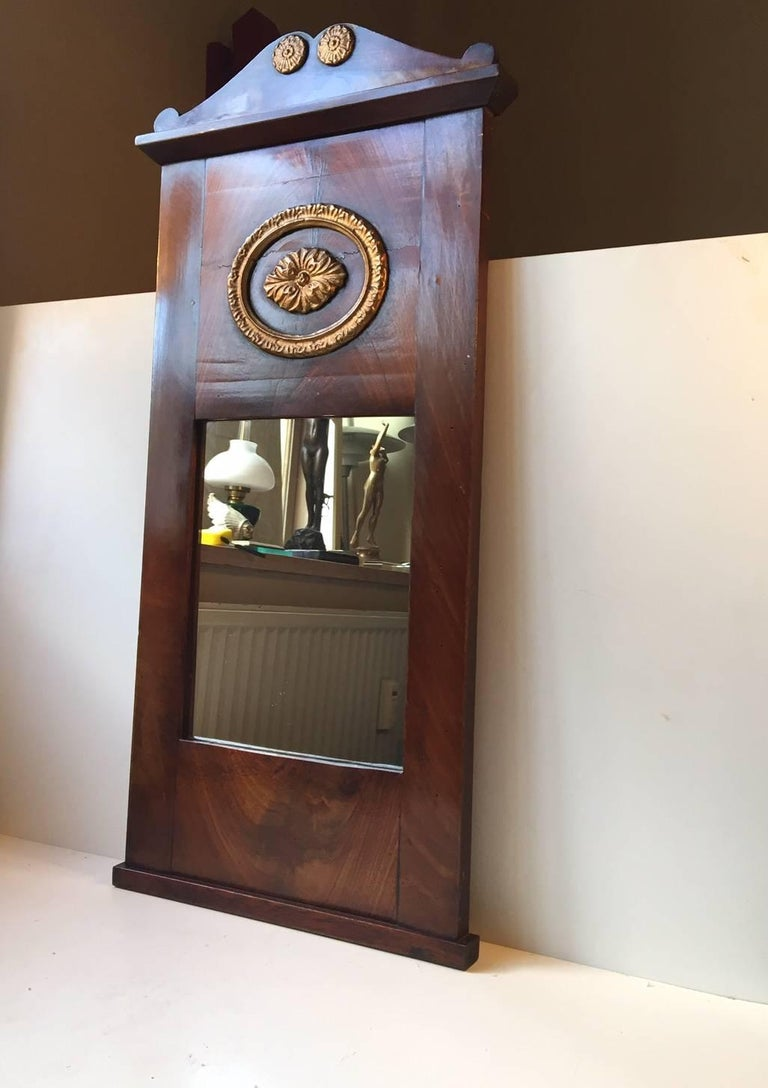 Antique Danish Empire Mahogany Wall, Pier Mirror, 1820s In Good Condition For Sale In Esbjerg, DK