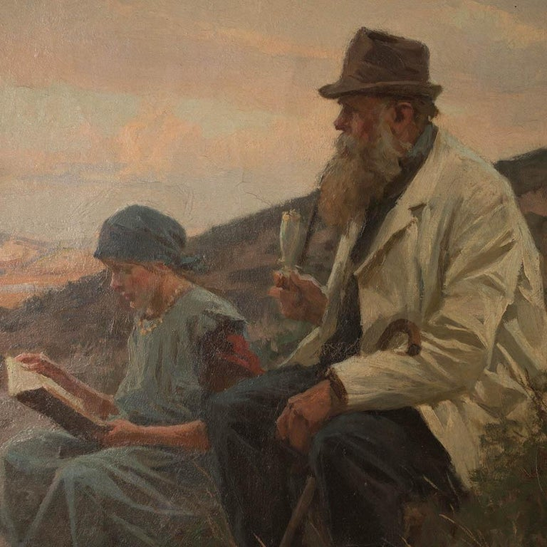 In this wonderful landscape of hills, sand and scrub, a young girl reads to an older gentleman smoking his pipe in the shadow of the dunes. The painting is mounted in a giltwood frame and signed and dated in the lower left,