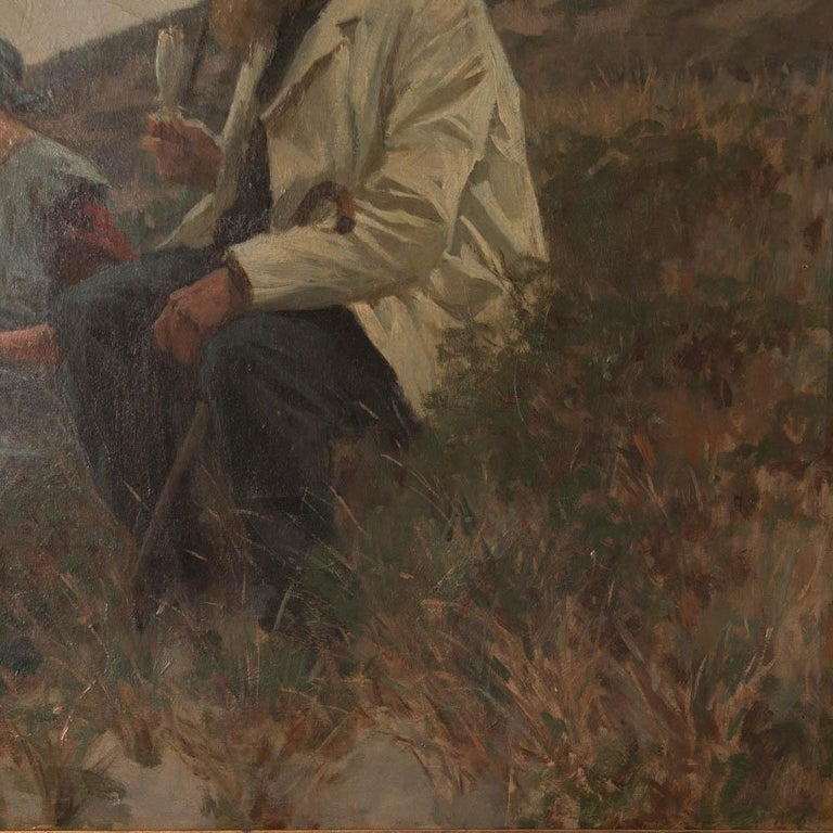 Antique Danish Oil on Canvas Painting by Erik Henningsen In Good Condition For Sale In Denver, CO