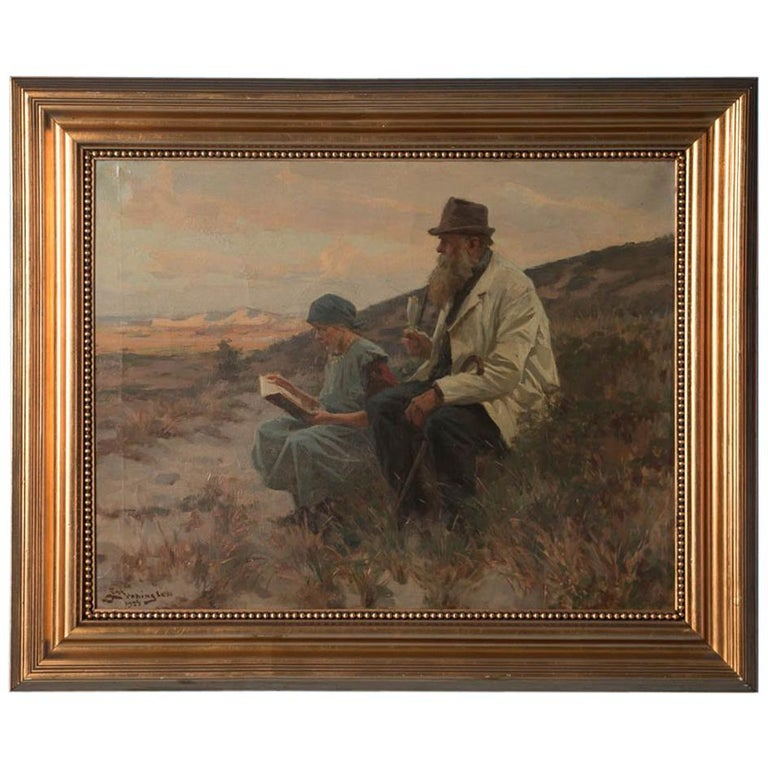 Antique Danish Oil on Canvas Painting by Erik Henningsen For Sale