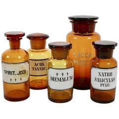Antique Danish Pharmacy Glass Bottles, 1900s, Set of 5