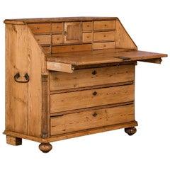 Antique Danish Pine Breakfront Bureau / Desk, circa 1840