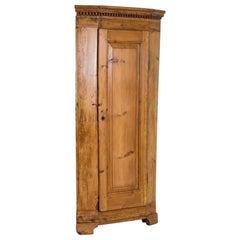 Antique Danish Pine Narrow Corner Cabinet
