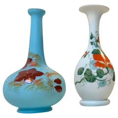 Antique Danish Satin Opaline Glass Vases from Fyns Glasværk, 1900s