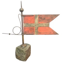Antique Danish Weather Vane in the Form of a Danish Flag