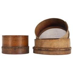 Antique Danish Wooden Sieves, Set of 3