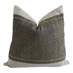 Antique Dark Brown Tribal Block Pillow with Natural Irish Linen